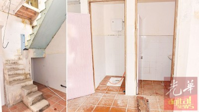 内部的楼梯虽然陈旧,但依然保留。原本简陋狭窄的厕所已被加宽。