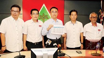 蔡高廷(左起)、刘博文、梁德明、胡栋强及赛益阿都拉萨建议林冠英会见阿都拉曼达兰,商讨如何使槟州经济返回正轨。