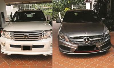 反贪会充公前沙巴州水务局副局长的马赛地房车及丰田四驱车。