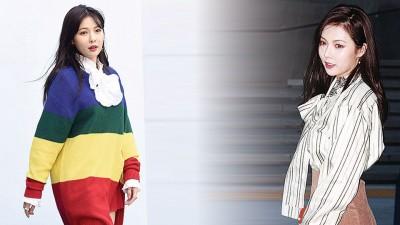 (左)泫雅身穿彩虹色针织洋装,身材相近胖一圈。(右)夜间换上OL造型,脸上粉底却白到像艺妓。