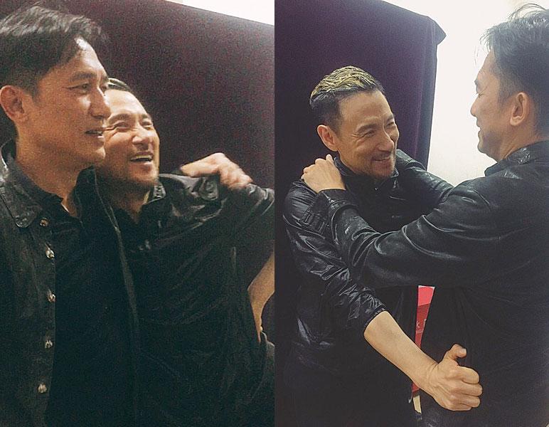 (左图)梁朝伟(左)的现身,让张学友又惊又喜。(右图)两人又搂又抱,似有讲不完的话。