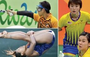 (上)能代表国家站上奥运舞台,黄冠捷感觉荣幸。 (下)吴丽颐脚上的奥运五环激励着她。 (右)温可微与搭档许嘉雯。