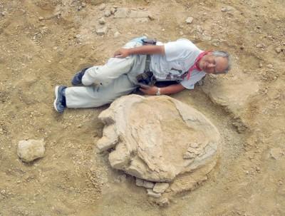 日本冈山科学大学教授石垣忍与恐龙脚印合影。