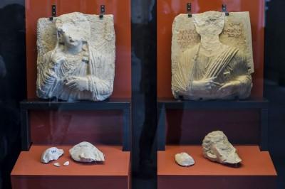 展亦展出巴尔米拉偷运出的大理石半身像。(法新社照片)
