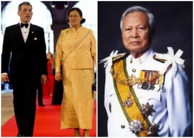 廷素拉暖(右图)暂时摄政。图左为王储瓦吉拉隆功(左图左)及诗琳通公主(左图右)。