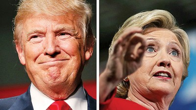 希拉莉(右)在最新民调仍领先特朗普(左)。