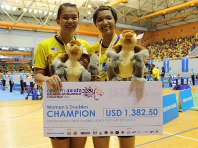 邹美君/李明艳在大马羽球国际挑战赛迎来久违的冠军。