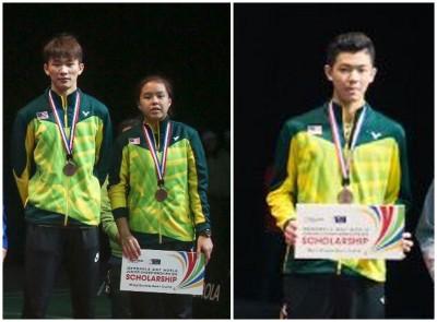 李梓嘉与陈堂杰/杜依蔚分别领取世青羽铜牌。