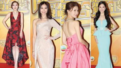 左起:身穿红裙的田蕊妮美爆全场;杨秀惠仙气逼人;黄翠如微露香背,高贵迷人;陈凯琳身穿葫芦剪裁的晚装现身。