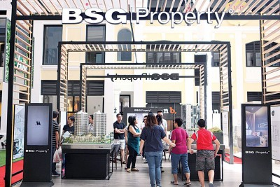 BSG Property展出多个产业项目,在周六上午时段已经吸引不少人潮。