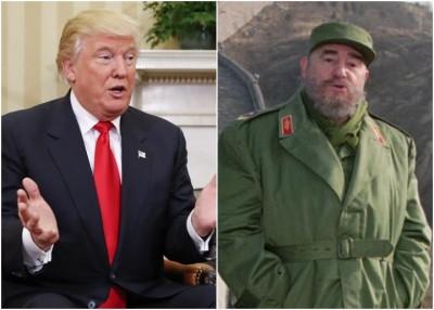 """特朗普(左图)斥卡斯特罗(右图)是""""残暴独裁者""""。"""