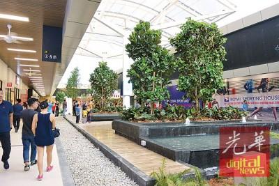 店铺秩序井然地排列,四周种植各类花卉及树木,市民犹如在大自然下购物。