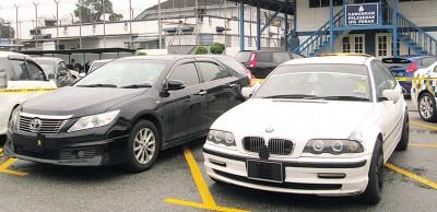 以肃毒行动中给没收的宝马(BMW)与丰田佳美(CAMRY)豪华车。