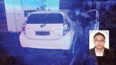 林国伟驾驶的轿车失控发生车祸。(小图)林国伟。
