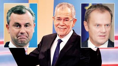 左倾候选人范德贝伦以无法反超前的幅度领先右翼对手霍费尔。(左图)后极右候选人霍费尔承认落败。(右图)图斯克对范德贝伦致以衷心祝贺。(法新社照片)