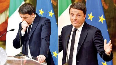 意大利总理伦齐在记者会上承认落败,宣布辞职。(法新社照片)