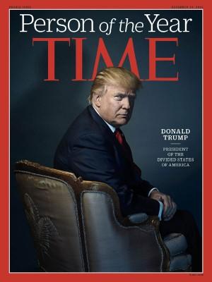 美国候任总统特朗普,获美国《时代》杂志选为本年度风云人物。