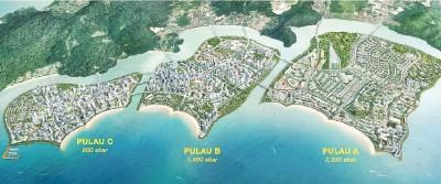 3座人造岛是槟州政府致力打造的未来智慧型城市,建议在槟岛南岸填出来的3座人造岛,面积分别是2300英亩、1400英亩和800英亩。