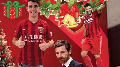 奥斯卡(左)下个赛季将会联袂巴西同胞胡尔克(右)及葡萄牙籍主帅博阿斯(中)在上海上港旗帜下征战中超联赛。
