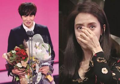 李光洙得奖,宋智孝在台下感动泪崩。