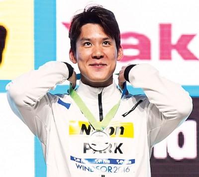 韩国名将朴泰桓以3分34秒59赢得男子400米自由泳金牌。