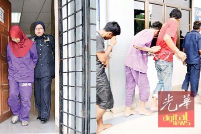 女嫌犯左躲右避,仍躲不过面容曝光。右图为避开镜头,男嫌犯紧紧捉住前方高大的红衣嫌犯上衣,躲在其背后。
