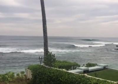 所罗门群岛海面在地震后出现波浪。(互联网图片)