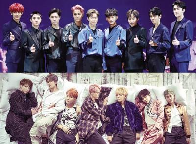 EXO(上)与防弹少年团(下)今年的实体唱片总销量都双双超过百万张。
