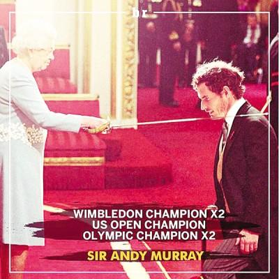 """英国网球巨星安迪穆雷正式被英国女王授予爵士勋章,成功晋升为""""安迪爵士"""",为他光辉的2016年画上了一个圆满的句号。"""