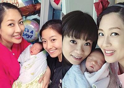 好友陈自瑶与DJ阮小仪及载一张到医院探陈敏之和宝宝的合照。