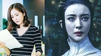 杨幂去年的作品仅有电视剧《亲爱的翻译官》(左图)以及电影《爵迹》(右图)。