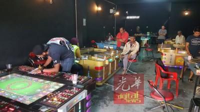 含赌博性质的娱乐中心泛滥,武吉阿曼反黄、黑、赌特工队北上进行检举。