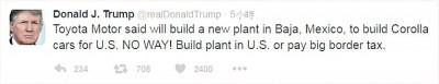 特朗普搞错了丰田的建厂地点。