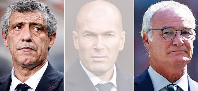 吉坦(中)没获奖?根据《马卡报》爆料,拉涅利(右)或桑托斯将当选年度最佳主帅。