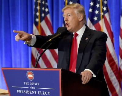 特朗普在纽约举行当选后首个记者会。(法新社照片)