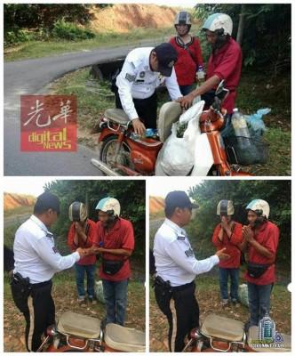 交警为摩托车燃油耗尽的夫妻购买汽油,获得网民好评。(照片取自PDRM KEDAH脸书)