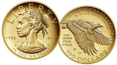 金币上的自由女神,以非裔女性形象登场。(美国铸币局照片)