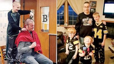 (左图)校长哈德利当众削发支持约翰斯顿(左)。约翰斯顿(右一)剪发只为令祖父高兴。