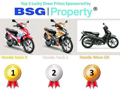 "BSG Property曾于2015年""BSG Property 跑""赞助3辆摩托车为幸运大奖,今年当然也不例外。"