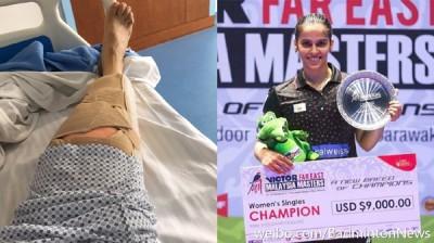 赛娜内娃坐膝盖手术养伤了3只月。