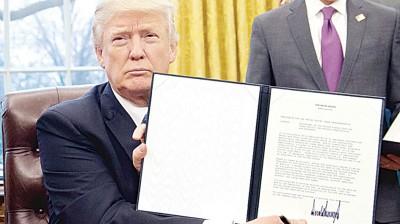 特朗普签署行政命令退出TPP。