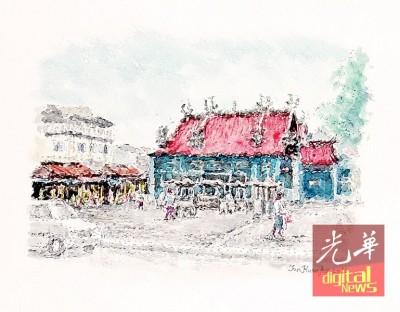 陈环湖画的椰脚街观音亭画作。