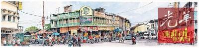 林日源擅于描画街景及古迹建筑物,图为他所画的街景。