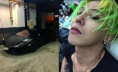 """G-DRAGON在IG晒蓝宝坚尼黑色超跑车,并留言""""想跟过来的话就跟着试试看"""",疑似是对私生饭提出警告。"""