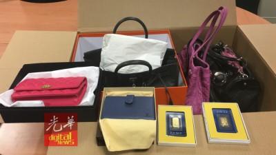 反贪会在秘书长高官的住家搜获近150个名牌包包和金条。