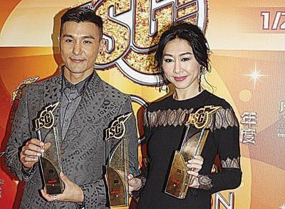 """陈展鹏和胡定欣获颁""""最佳合唱歌曲奖""""。"""