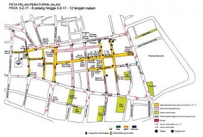 2月3日,槟州庙会第3阶段封路路段(黄色路段)。届时,一些双向道将改为单行道。