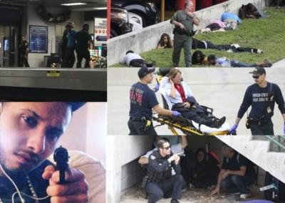 枪手行凶被捕(左上及左下),受惊者瑟缩机场一角。