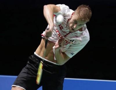 丹麦男双名将柯汀的一记暴力扣杀刷新了健力士世界纪录,技惊四座。