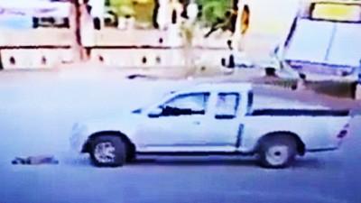 巴实被闭路电视拍到开货车将狗碾毙。